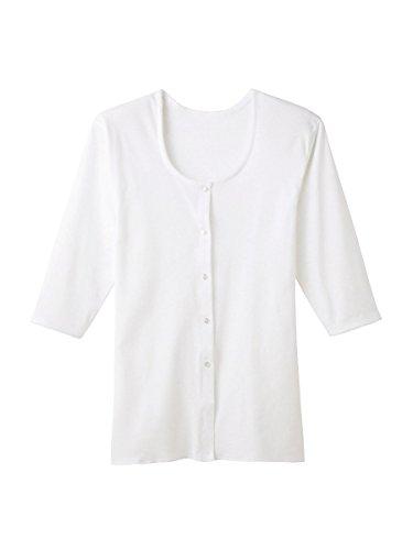 快適工房 婦人 7分袖ボタン付き 前開きシャツ (03)ホワイト M kh5034