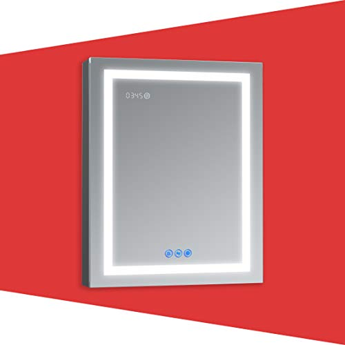 DECADOM LED Mirror Medicine Cabinet Recessed or Surface, Defogger, Dimmer, Clock, Room Temp Display, Makeup Mirror 3X, Outlets & USBs (RUBiNi 24x32/L)