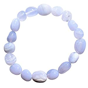 """Zenergy Gems Charged 7"""" Premium Grade Natural Blue Lace Agate Crystal Nugget Bead Bracelet Tumble Polished Stretchy + Selenite Heart Charging Crystal Included"""
