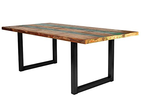 SIT-Möbel Table de Bar en Bois altholé et Structure en Acier 220 x 100 x 77 cm Plateau Peint Multicolore Armature en Acier Noir Antique composé de 7182-98 + 7112-11 Épaisseur du Plateau 4 cm