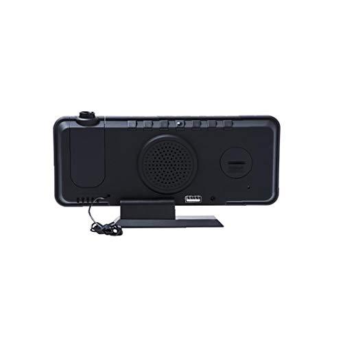 Berrywho Reloj Despertador Digital Dormitorio Despertador de la proyección de Radio para Wall Permetral Negro Shell Blanco Display