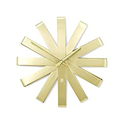 Umbra, Brass Ribbon Modern 12-inch Wall Clock, Silent Non Ticking Battery Operated Quartz Movement