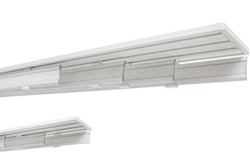 Garduna 300cm Flächenvorhangschiene Gardinenschiene Vorhangschiene, Aluminium, weiss, glatte, glänzende Oberfläche, 4-läufig oder 3-läufig (Wendeschiene, Paneelwagen optional)