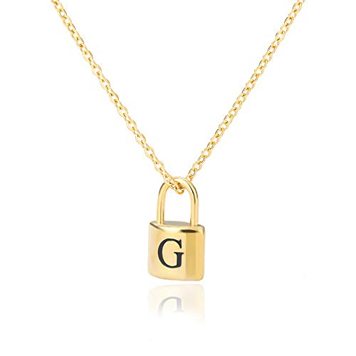 HJMKL Stainless Steel Necklace,Unisex Unique Polished Punk Letter G Padlock Gold Plated Pendant Necklaces With Golden Chain For Men Womens Girl Birthday Party Friendship Gift