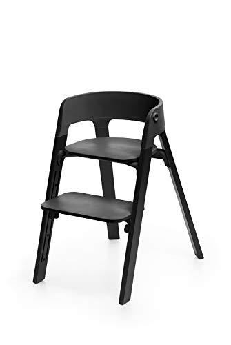 STOKKE® Steps™ Stuhl - mitwachsender Hochstuhl für Babys und Kleinkinder - Sitz: Schwarz - Holz: Eiche - Farbe: Oak Black