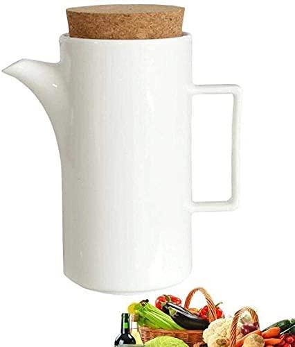 RTYUIO Botella dispensadora de Aceite, 550 ML, Botella de vinagre de Aceite de Oliva de cerámica de Gran Capacidad, dispensador de Botella de Aceite de Almacenamiento Blanco, Botella de Especias