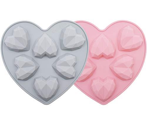 Herz Kuchenform Silikonform YUESEN 2 x 6 Mulden Mousse-Kuchenformen Silikonform Herz Diamant 3D Diamantform Liebesherz Schokolade für Kuchen Verzieren Backen Süßigkeiten Machen Schokolade(Pink Blau)
