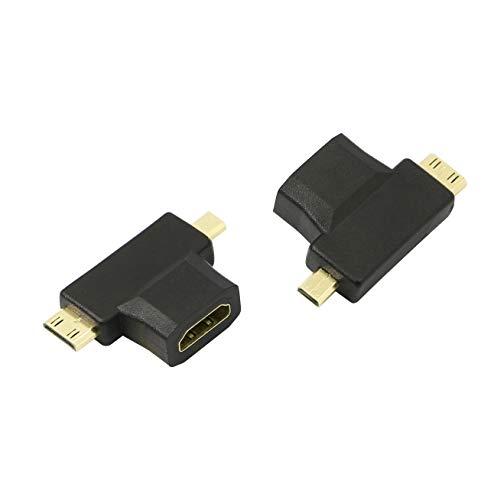 YACSEJAO Adattatore 2-in-1 HDMI a Mini Micro HDMI, Mini e Micro HDMI Maschio a HDMI Femmina Adattatore T universale con connettori placcati in oro per tablet, fotocamera, scheda video, videocamera.