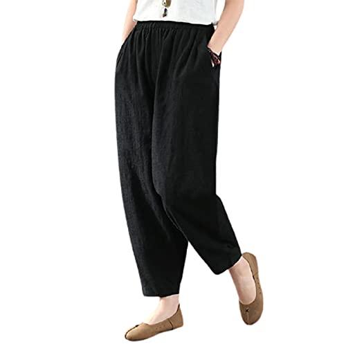 Binghai Pantalones de cintura alta de las mujeres de verano artístico retro de algodón más el tamaño pantalones harem flojos y delgados casual nueve puntos