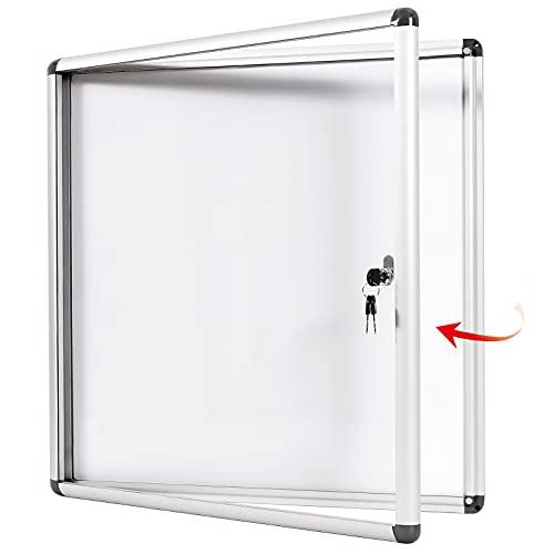 Swansea Bacheca Magnetica con Anta Battente per Interni in Alluminio, 67X72cm (6X4A), 12 Magneti
