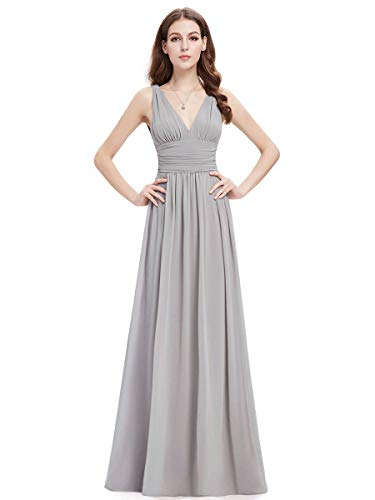 Ever-Pretty Damen Festliches Kleid A-Linie V-Ausschnitt Ärmellos Chiffon Hohe Taille Grau 44