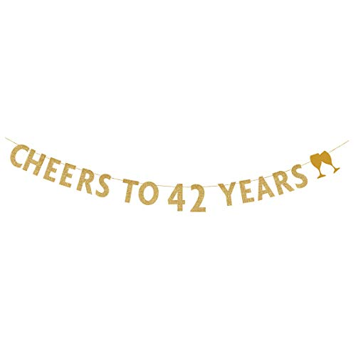 MAGJUCHE Gold glitter Cheers to 42 years banner,42th birthday party decorations