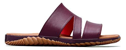 Sorel - Women's Out N About Plus Slide Slip On Leather Sandals, Elderberry, 9 M US