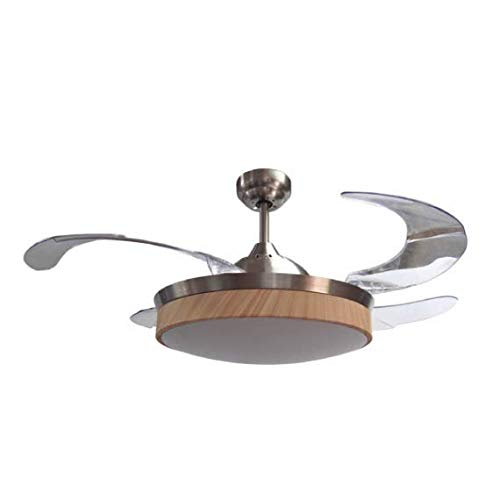 TODOLAMPARA- Ventilador de techo con luz LED 36W modelo ZONDA Níquel, 3 tonalidades de luz, 4 aspas retráctiles transparentes,3 velocidades, control remoto, amplio difusor blanco con terminación Haya