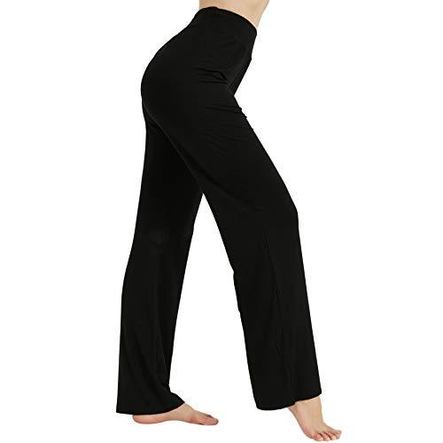 Bun Large Black Yoga Pants for Women, Bootcut Yoga Dress Pants Stretch Flared Women's High Waist Yoga Pants Fashion Workout Fitness Gym Pants Wide Leg Comfy Lounge Pants Black, L
