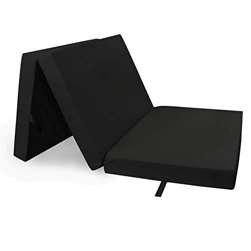 ElGiga - Materasso pieghevole, 190 x 60 x 7 cm, letto da viaggio per gli ospiti, pieghevole e lavabile, colore: Nero