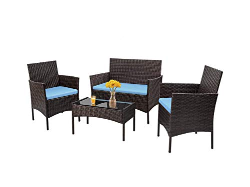 CRZDEAL Outdoor Patio Furniture Sets 4Pcs Rattan Chair Wicker Set Backyard Porch Garden Poolside Balcony Furniture Sets for Outdoor & Indoor Use