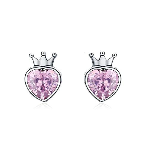 Pendientes de botón de corazón de corona rosa dulce de plata de ley 925 para mujer Joyería de plata de lujo