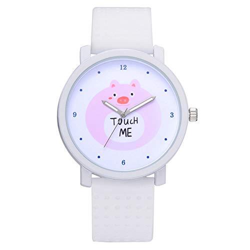 Dial redondo de moda lindo patrón de dibujos animados de silicona correa reloj de pulsera femenino