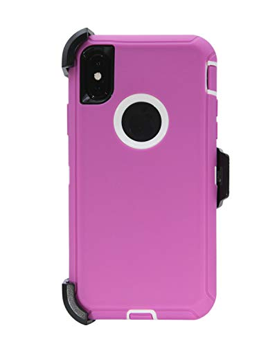 WallSkiN Turtle Series Holster Case for iPhone Xs/iPhone X/iPhone 10 (5.8), 3-Layer Full Body Life-Time Protection, Protective Heavy Duty & Carrying Belt Clip - Pink/White