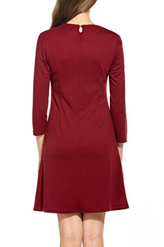 Zeagoo Damen 3/4 Ärmel Rundhals 60s Vintage Kleid Rockabilly Festliche Kleider Freizeitkleid Weinrot - 4