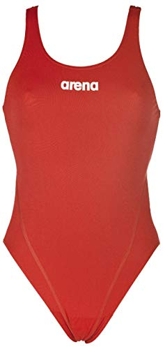 Arena W Solid Swim Tech High, Costume Sportivo Donna, Rosso (Red/White), 40 IT