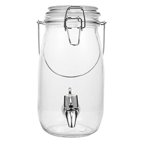 HEMOTON Antiguo Dispensador de Bebidas Frías de Hielo Tarro de Masón con Jarra de Bebida de Vidrio de Espiga Ancha Fácil de Llenar para Fiestas Aire Libre Dispensador de