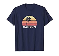 Great gift idea for Cancun locals, surfers, beach goers people who love Cancun, and those who love vintage retro throwback old school surf t-shirts. Vintage distressed looking Cancun t shirt featuring old school sunrise. Perfect for wearing on beache...