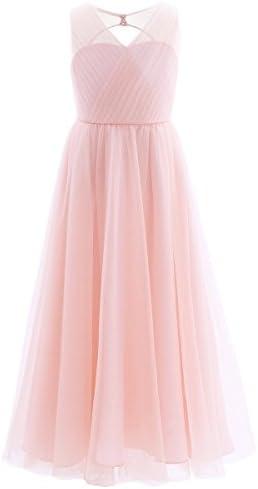 ranrann Princess Flower Girls Cutout Back Floor Length Maxi Dress Bridesmaid Wedding Pageant product image