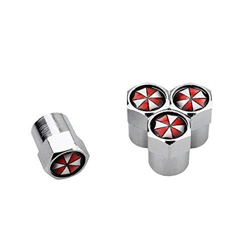 Tapas de válvulas 4 piezas de aleación de aluminio para neumáticos Ford Hon-da TO-YO-TA Opel Chevrolet Audi BMW Fiat Jeep Accesorios de coche para neumáticos (color: paraguas plateado)
