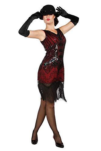 shoperama Vestido de los aos 20 Charleston Flapper lentejuelas flecos rojo y negro corto para mujer vestido de flecos vestido Gatsby Girl aos 20, talla: S/M