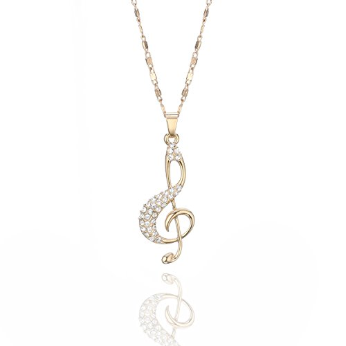 Fashion Choker Necklace Music Note with Brilliant CZ Crystal Pendant Necklace Collana Lunga Catena per Le Donne Ragazze (Oro)