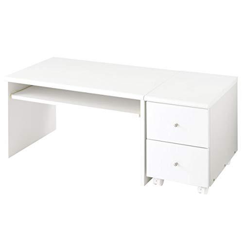 ぼん家具 ローデスク ロータイプ パソコンデスク ミニチェスト付き 木製 低い 机 ホワイト