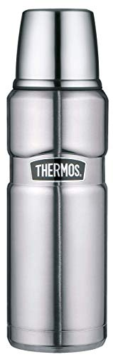 THERMOS ThermosflascheEdelstahl Stainless King, Edelstahl mattiert 470ml, Isolierflasche mit Trinkbecher 4003.205.047 spülmaschinenfest, Thermoskanne hät 12 Stunden heiß, 24 Stunden kalt, BPA-Free