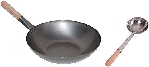 MoebelwerteWok Set, Pfanne 38 cm Ø Flacher Boden Carbon Stahl + Wok Kelle Edelstahl 44 cm lang mit Holzgriff. Für Gasherd, Elektro, Ceran und Induktion