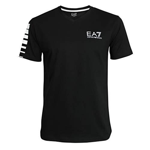 Emporio Armani, EA7 3YPTB8 PJ02Z, Maglietta a maniche corte, collo a V, Nero , L