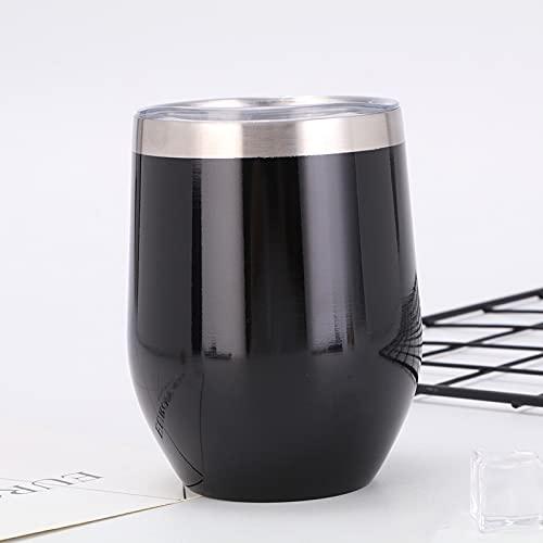 WQSM Vaso de vino aislado con tapa de doble pared de acero inoxidable sin mango, aislado taza de café duradera aislada usada para champán, cócteles, cerveza, oficina, 11 x 7,5 cm