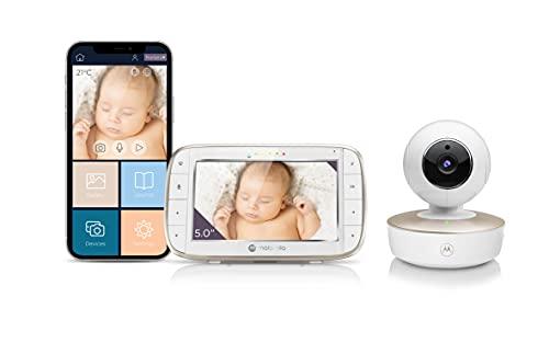 Motorola VM855/MBP855 Monitor per controllo bambini con video collegato, con videocamera ad accesso remoto WiFi portatile (UK Plug)