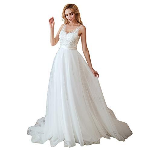 Leyidress Women's New V Neck Wedding Dress Applique Court Train Bridal Gowns Ivory Beach Wedding Dresses US 16