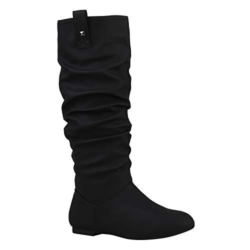 Damen Schlupfstiefel Warm Gefütterte Stiefel Nieten Winter Schuhe 152416 Schwarz Nieten 39 Flandell