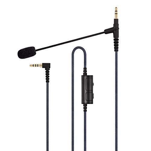 Boompro, microfono per PlayStation PS4 o Xbox One, PC, tablet, laptop, smartphone, microfono da gioco compatibile con V-Moda o altre cuffie jack da 3,5 mm con controllo del volume (150 cm)