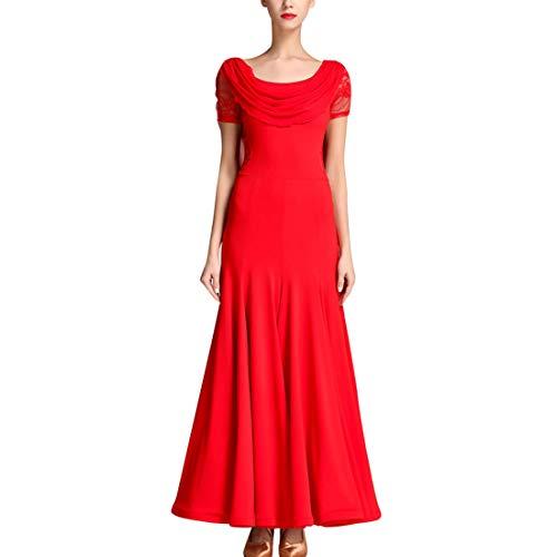 TAAMBAB Modern Standard Tanzkleid Frau - In voller Länge Spitze Swing Ballkleid Mit Reißverschluss Hinten