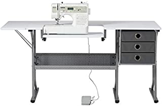 Craft & Hobby Essentials Machine Platform Table with Drawers, Shelf and Drop Leaf Top, Craft, 60.25 W Sewing Desk with Supply Storage, Grey/White