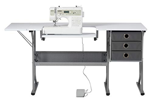 Craft & Hobby Essentials 62007 Machine Platform Table with Drawers, Shelf and Drop Leaf Top, Craft, 60.25' W Sewing Desk with Supply Storage, Grey/White