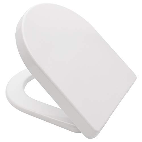 LUVETT® PREMIUM WC-SITZ D700 D-Form mit Absenkautomatik SoftClose® & TakeOff® EasyClean Abnahme, Urea Duroplast WC-Deckel, rostfreier Edelstahl, Laufen Pro, Vitra S50, Farbe:Weiß