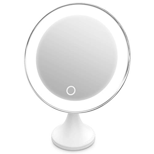 10X Magnifying Makeup Mirror with Lights, 360°Swivel, 3 Colors Adjustable, Screen Touch Button, Portable, with Reusable Bottom Sticker, for Desk/Bathroom/Wall (Silver)