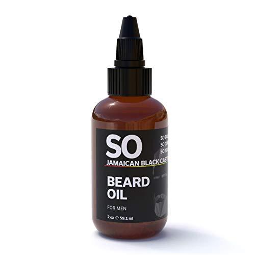 SO Jamaican Black Castor & Beard Oil Fast Absorbing | Promote Beard and Hair Growth | Best Oil For Men's Beard Growth & All Hair Textures | Grow Strong Healthy Hair | 2 oz / 60 mL