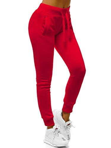 OZONEE Damen Jogginghose Hose Trainingshose Sporthose Freizeithose Motiv Damenhose Fitnesshose Sweathose Sweatpants Fußballhose Joggpants JS/CK01/59 DUNKELROT M