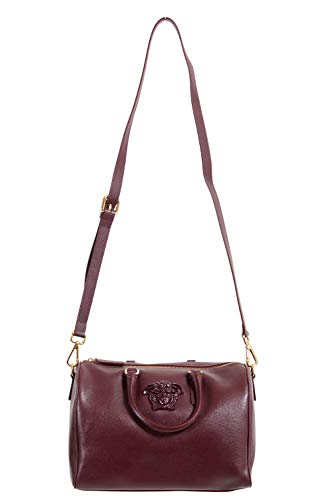 Versace Women's Burgundy Saffiano Leather Satchel Handbag Shoulder Bag