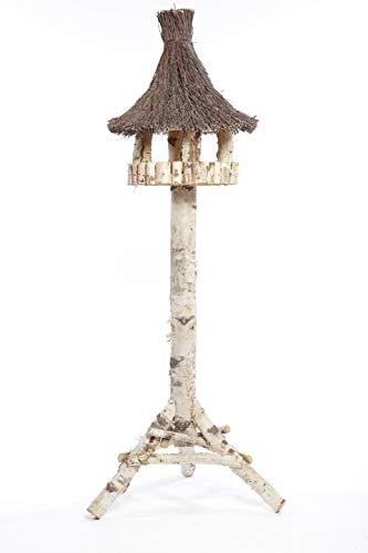 Weidenprofi Vogelhäuser, Vogelhaus mit Standfuss aus Birkenholz, rundes Design mit Reisigdach, (DxH) Ø 45 x 140 cm